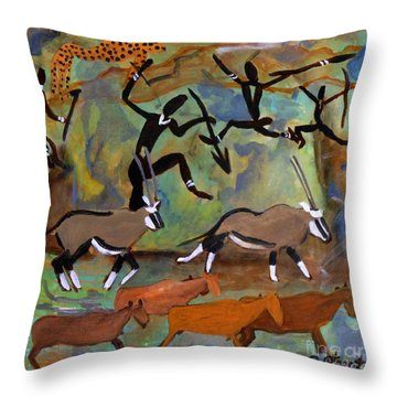 Hunters And Gemsbok Rock Art Throw Pillow by Caroline Street