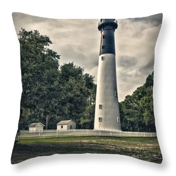 Throw Pillow featuring the photograph Hunting Island Lighthouse by Linda Blair