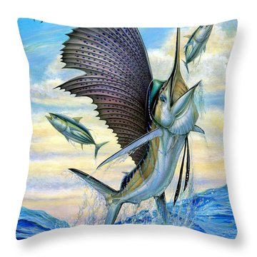 Hunting Of Small Tunas Throw Pillow
