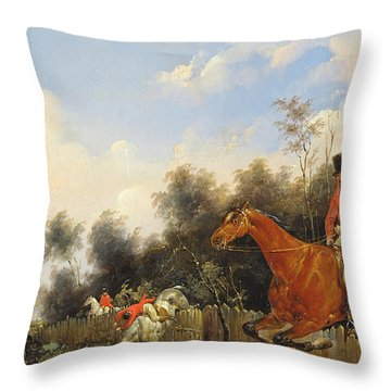 Hunting Scene Throw Pillow by Bernard Edouard Swebach