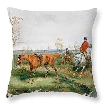 Hunting Scene Throw Pillow by Henry Thomas Alken