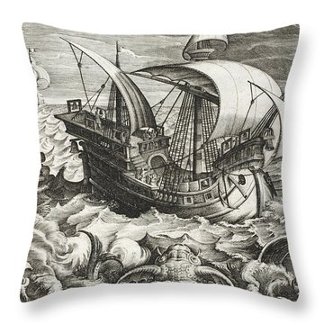 Hunting Sea Creatures Throw Pillow by Jan Van Der Straet
