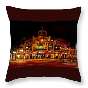 Huntington Beach Downtown Nightside 1 Throw Pillow by Jim Carrell