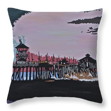 Huntington Beach Pier 1 Throw Pillow