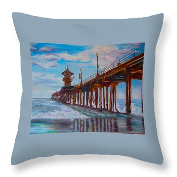Huntington Beach Pier 2 Throw Pillow