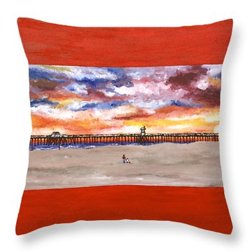 Huntington Beach Pier 3 Throw Pillow