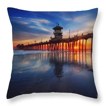 Huntington Beach Pier At Sunset Throw Pillow