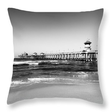 Huntington Beach Pier Black And White Picture Throw Pillow by Paul Velgos