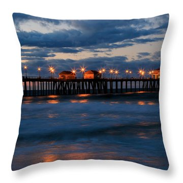 Huntington Beach Pier Lights  Throw Pillow