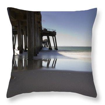Huntington Beach Pier - Looking Out Throw Pillow by Heidi Smith