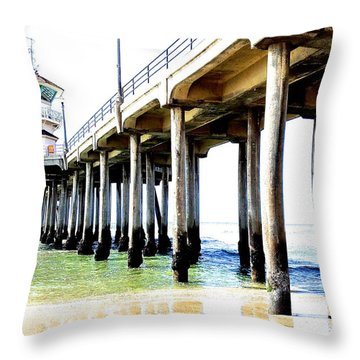Huntington Beach Pier Throw Pillow by Margie Amberge