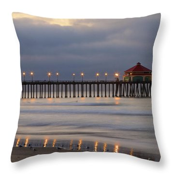 Huntington Beach Pier Morning Lights Throw Pillow by Duncan Selby