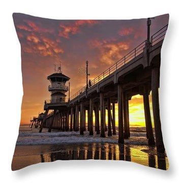 Huntington Beach Pier Throw Pillow by Peggy Hughes