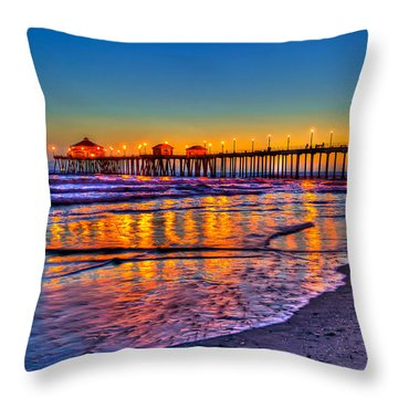 Huntington Beach Pier Sundown Throw Pillow