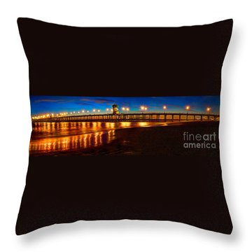 Huntington Beach Pier Twilight Panoramic Throw Pillow