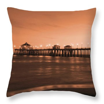 Huntington Beach Pier - Twilight Sepia Throw Pillow
