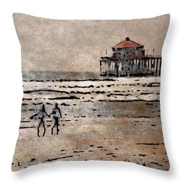 Huntington Beach Surfers Throw Pillow by Andrea Auletta