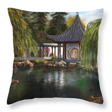 Throw Pillow featuring the painting Huntington Chinese Gardens by LaVonne Hand