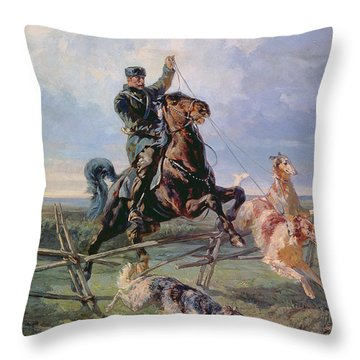 Huntsman With The Borzois Throw Pillow by Rudolph Frenz