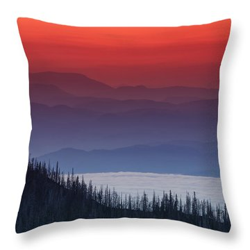 Hurricane Ridge Sunset Throw Pillow