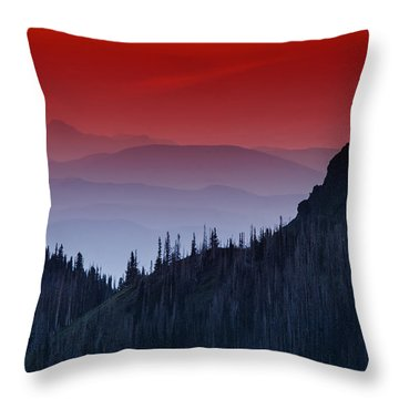 Hurricane Ridge Sunset Vista Throw Pillow