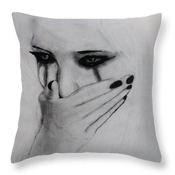 Throw Pillow featuring the drawing Hurt by Michael Cross
