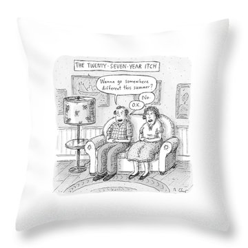 Husband And Wife Discuss Summer Plans On A Couch Throw Pillow