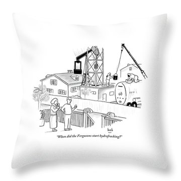 Husband And Wife Standing On Their Porch Looking Throw Pillow