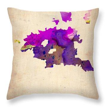 Huston Watercolor Map Throw Pillow by Naxart Studio