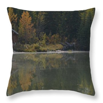 Hut By The Lake Throw Pillow by Cheryl Miller
