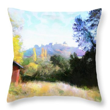 Throw Pillow featuring the painting Hut In The Field by Wayne Pascall