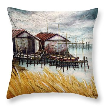 Huts By The Shore Throw Pillow