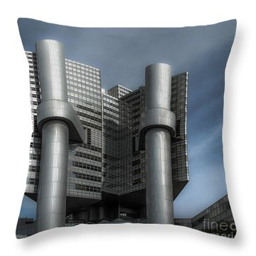 Hvb Building Throw Pillow by Hannes Cmarits
