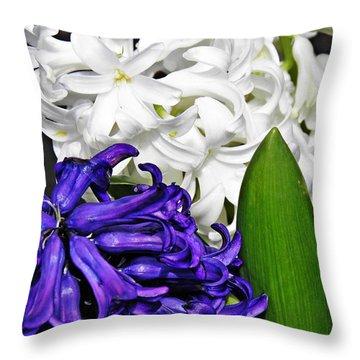 Hyacinths Throw Pillow by Sarah Loft