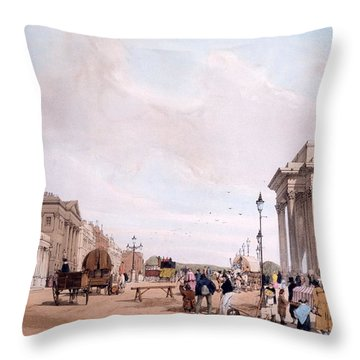 Hyde Park Corner, Looking Throw Pillow by Thomas Shotter Boys