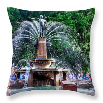 Hyde Park Fountain Throw Pillow by Kaye Menner