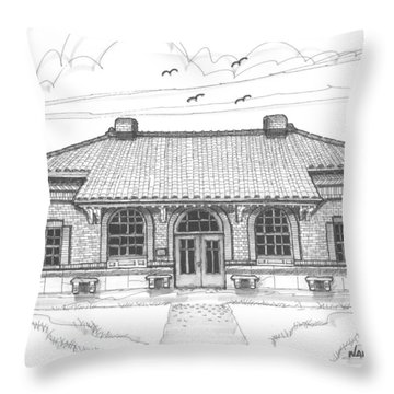 Hyde Park Historic Train Station Throw Pillow