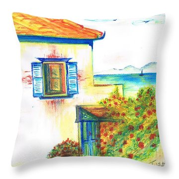 Throw Pillow featuring the painting Greek Island Hydra- Home by Teresa White
