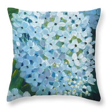 Hydrangea Blossom Throw Pillow