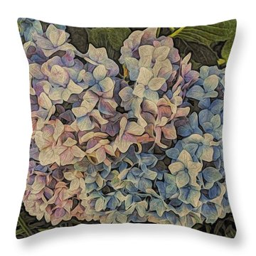 Hydrangea Blossoms Throw Pillow