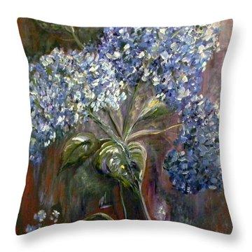 Hydrangea Bouquet At Dawn Throw Pillow by Eloise Schneider