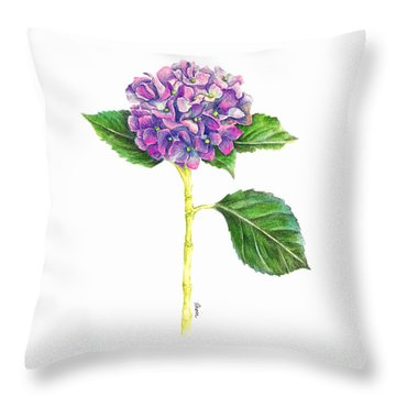 Hydrangea Throw Pillow by Dion Dior