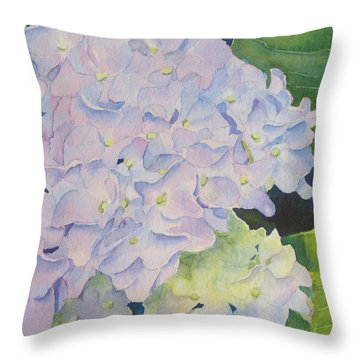 Throw Pillow featuring the painting Hydrangea by Judy Mercer