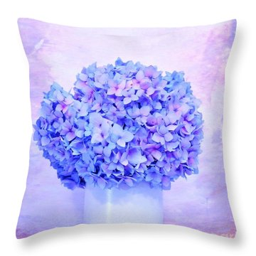 Hydrangea Lavender Throw Pillow
