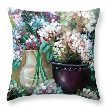 Throw Pillow featuring the painting Hydrangea Melody by Patrice Torrillo