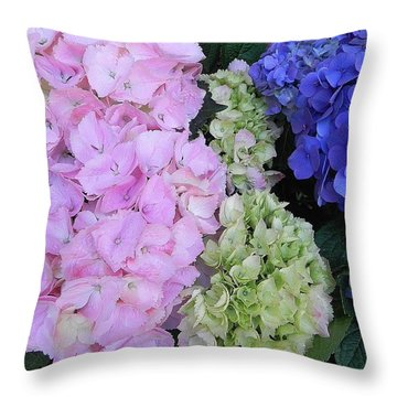 Hydrangea Throw Pillow by Peggy Stokes