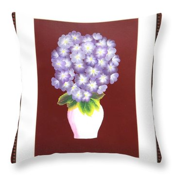 Throw Pillow featuring the painting Hydrangea by Ron Davidson
