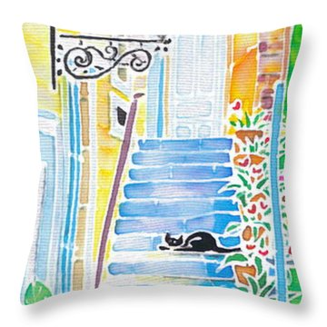 Hydrangeas And The Hotel Throw Pillow