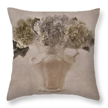 Throw Pillow featuring the photograph Hydrangeas In Cream Pitcher by Sandra Foster