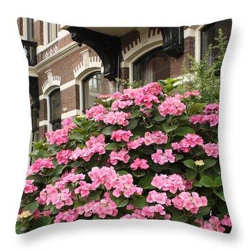 Hydrangeas In Holland Throw Pillow by Carol Groenen